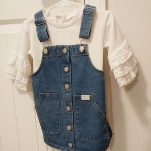 24 month toddler girl denim jumper with sweater